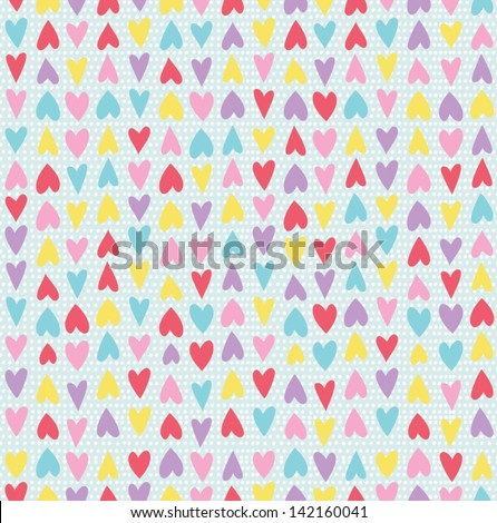 Cute seamless pattern with hand drawn hearts and polka dot background. Abstract romantic background in bright color. Vector illustration - stock vector