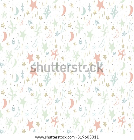Cute seamless pattern with hand drawn moons and stars. Editable vector illustration. White background. Can be used as decoration for the gift boxes, wallpapers, backgrounds, web sites. - stock vector