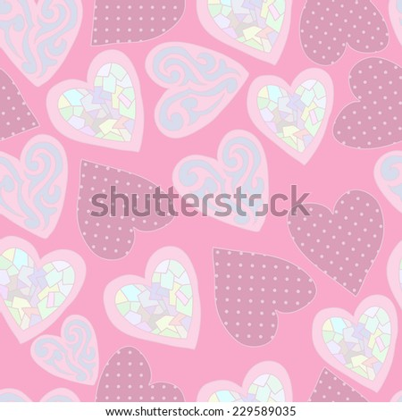Cute seamless pattern with hearts for valentine's day