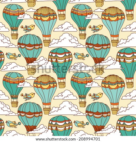 Cute seamless pattern with hot air balloons. Can be used for desktop wallpaper or frame for a wall hanging or poster,for pattern fills, surface textures, web page backgrounds, textile and more. - stock vector