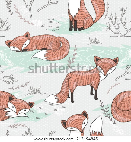 Cute seamless pattern with little foxes. - stock vector
