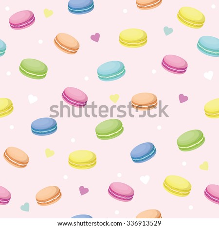 Cute seamless pattern with macaroons and hearts. Vector background. French sweets. Colorful macaroon. Vector texture of chocolate raspberry strawberry vanilla pistachio macaroons. Pink pattern - stock vector