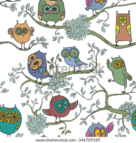 Cute seamless pattern with owls on the branches - stock vector