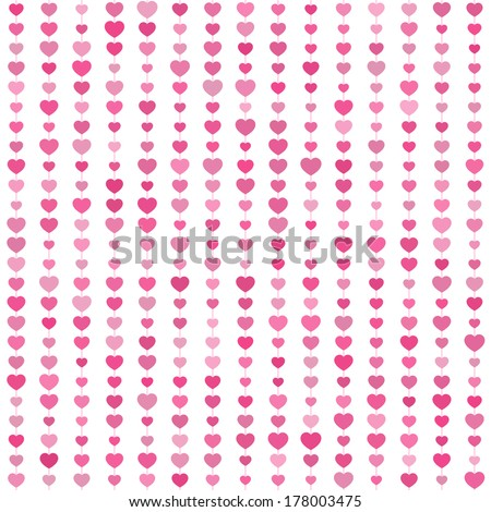 Cute seamless pattern with pink hearts on a white background. Can be used for printing onto fabric and paper. Valentines day. Vector background. - stock vector
