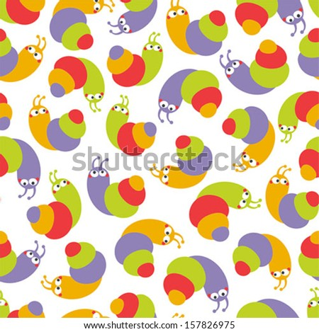 Cute seamless pattern with small snails. Vector illustration.