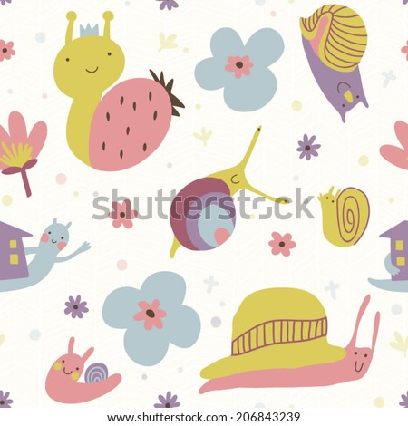 Happy Snails Wallpaper With Snails And Flowers