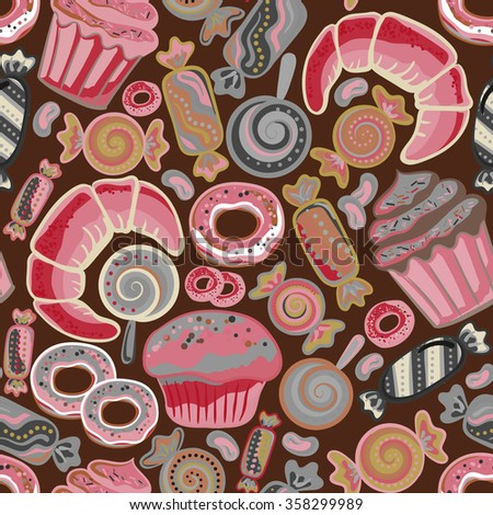 Cute seamless pattern with sweets and desserts: lollipop, candy, donuts, cupcake, dessert, croissant, bagel. Doodle style vector. Baked goods, restaurant menu and tea party background. - stock vector