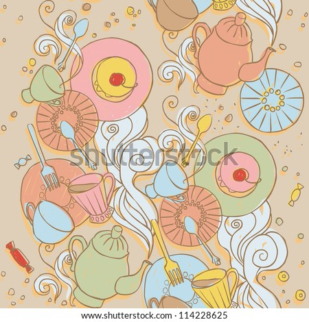 Cute seamless pattern with tableware - stock vector