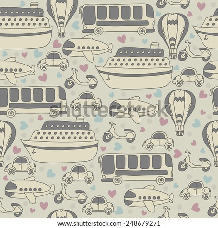 Cute seamless pattern with transport. Cartoon vector seamless travel pattern. Vector illustration - stock vector