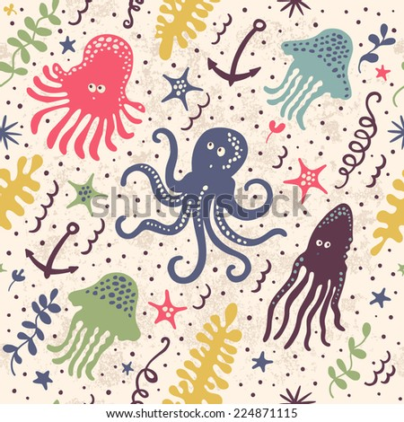 Cute seamless pattern with underwater live: octopus, starfish, squid, jellyfish. Vector tropical background.