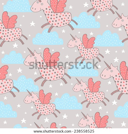 Cute seamless pattern with unicorns in the clouds. Vector illustration.  - stock vector