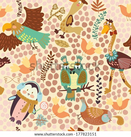 Cute seamless pattern with ?ute various birds.Penguin, ostrich, eagle, owl, duck, quail, bird .Seamless pattern can be used for wallpaper, pattern fills, web page background,surface textures. - stock vector