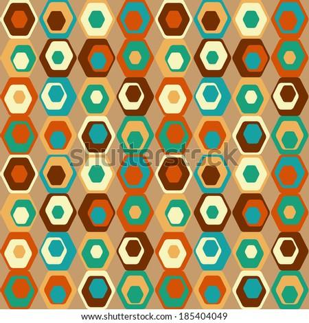 Cute seamless retro pattern of hexagons.  - stock vector