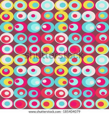 Cute seamless retro pattern of ovals. Seamless background  - stock vector