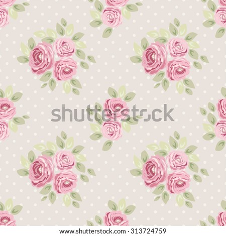 Cute seamless Shabby Chic pattern with roses and polka dots ideal for kitchen textile or bed linen fabric, curtains or interior wallpaper design, can be used for scrap booking paper etc - stock vector