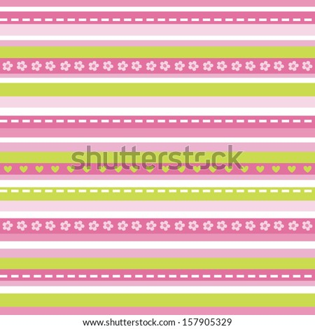 Cute seamless striped background in pink and green with daisies and hearts. Great for Baby Shower, Wedding, Birthday, Easter, Mothers Day, surface textures. See my folio for other colors.