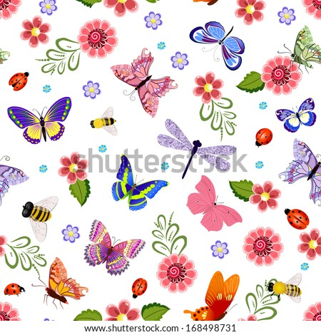 Cute seamless texture with flying insects - stock vector