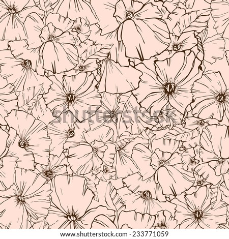 Cute seamless texture with perfect natural flower. Hand drawn botanical background. Use this pattern for wedding invitations, wrapping or as a background on your website. - stock vector