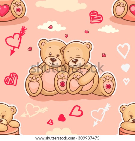 Cute seamless valentine background with teddy bears. Use it for childrens wallpaper, gift wrapping, prints for baby clothes, prints for bedclothes, greeting cards, Valentines Day design - stock vector