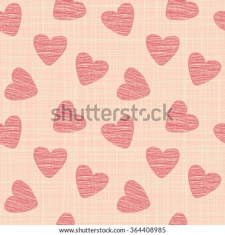 Cute seamless vector pattern illustration. St. Valentine`s day decoration symbol concept. Many repeating hearts on the background. Vector eps illustration