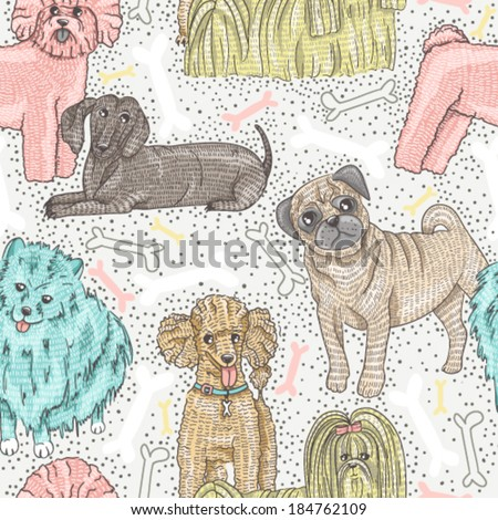 cute seamless vector pattern with little breed dogs. Bichon, pug, spitz, dachshund, poodle, shih tzu. - stock vector
