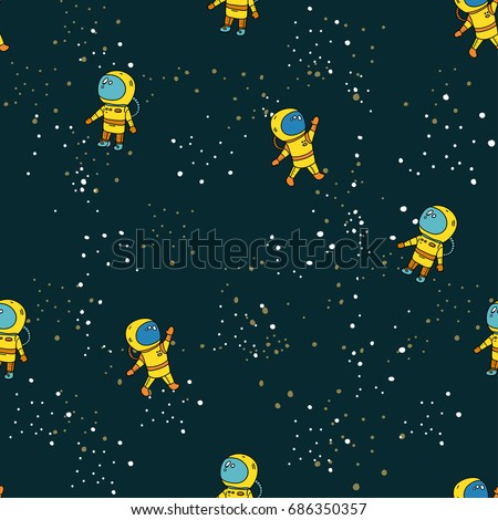 Cute Seamless Vector Pattern With Lovely Astronauts Stars A Space Kids Colorful Wallpapers