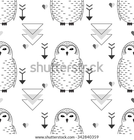 Cute  seamless white snowy owl pattern.  Bird background for kids. Childish doodle characters. Vector illustration in cartoon baby style. Winter color. - stock vector