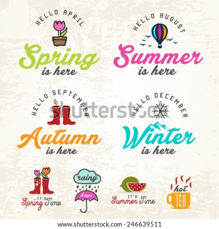 Cute Seasons Illustrations and Badges Set - stock vector