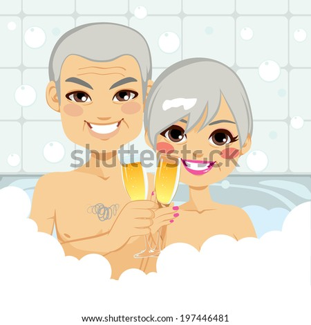 Cute senior couple enjoying relaxing bubble bath together making a toast with champagne - stock vector