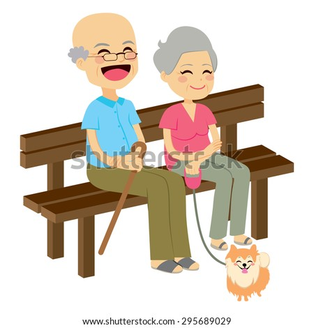 Cute senior couple sitting on wooden bench with dog resting - stock vector