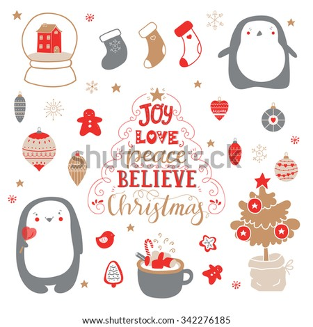 Cute set for decoration gifts, scrapbook, decorations for Christmas and New Year party. Hand lettering quote joy, love, peace, believe, Christmas - stock vector