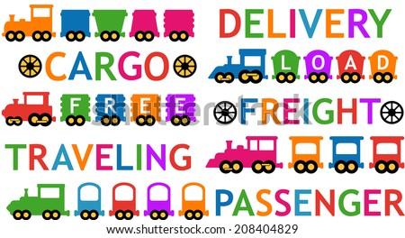 cute set of colorful isolated toy trains - stock vector