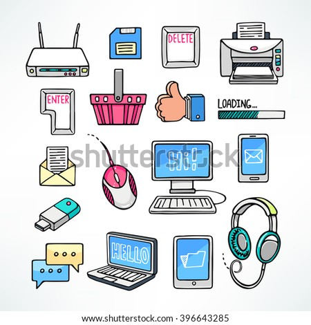 cute set of computer icons on white background. hand-drawn illustration