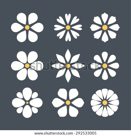 cute set of flat color icon flower.  isolated. design for stickers, labels, tags, gift wrapping paper. - stock vector
