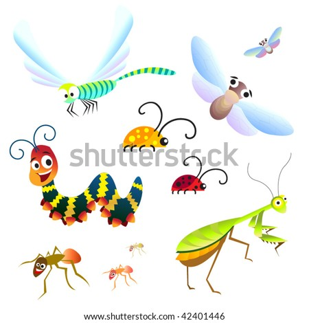 Cute set of forest insects - stock vector