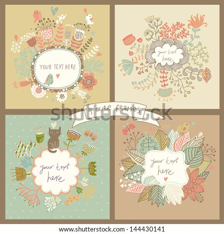 Cute set of four floral backgrounds with flowers, butterflies, birds, hedgehog and cat. Vintage frames with place for text in pastel colors. Spring time vector cards. Wedding invitation design. - stock vector