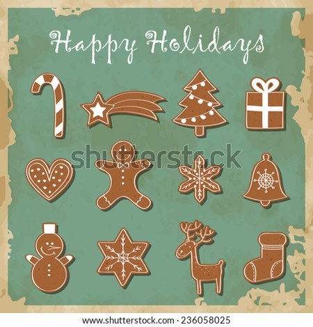 Cute set of gingerbread - stock vector