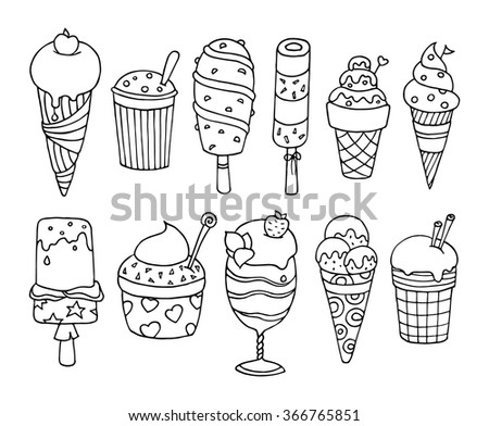 Cute set of tasty cartoon ice cream.  Collection of delicious ice cream with sprinkles and fruits. Elements for your summer desert menu. Doodle vector isolated on white and grouped for easy editing.  - stock vector