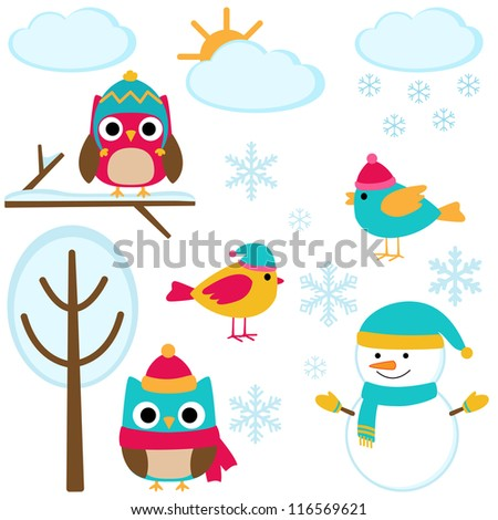 Cute set of winter elements - stock vector