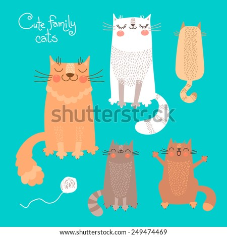 Cute set with cats and kittens. Vector illustration. - stock vector