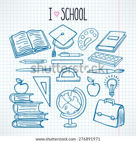 cute set with sketch school supplies - stock vector