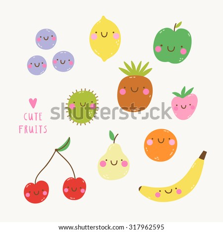 Cute set with smiley fruits in cartoon style. Cute and funny fruit characters for kids. Smiley Apple Lemon Berries Kiwi Pineapple Strawberry Orange Pear Cherry and Banana - stock vector