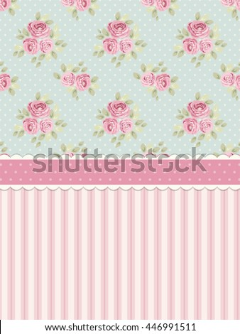 Cute Shabby Chic Background With Roses And Polka Dots For Your Decoration