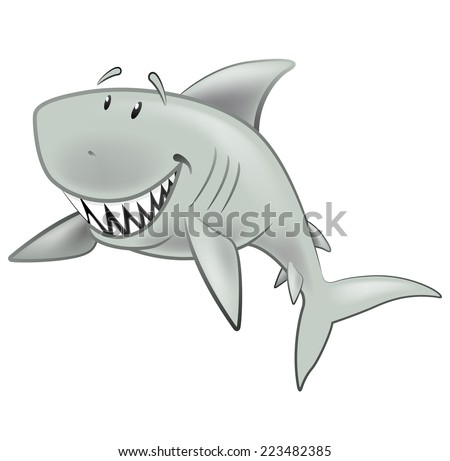 Cute Shark Character. Great illustration of a Cute Cartoon Great White Shark swimming along in the sea. - stock vector