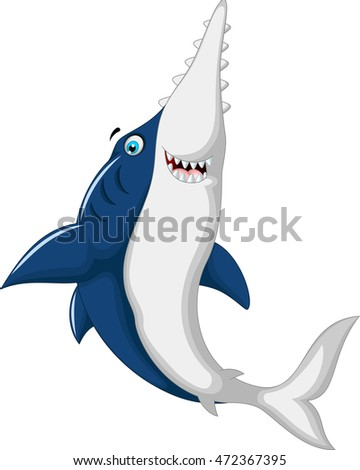 cute shark saws cartoon jumping