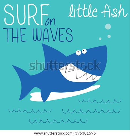 cute shark surfing vector illustration
