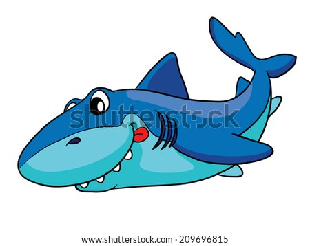 cute shark, vector illustration on white background