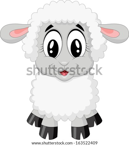 Cute sheep cartoon - stock vector