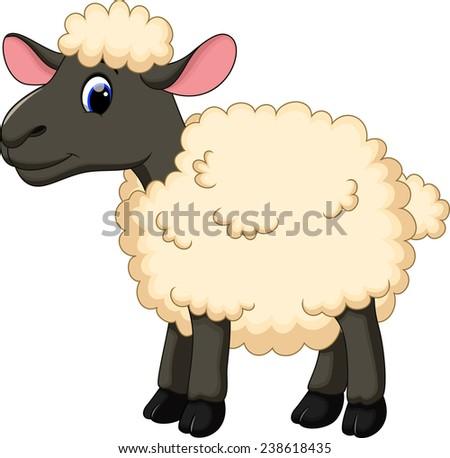 Cute sheep cartoon - stock vector