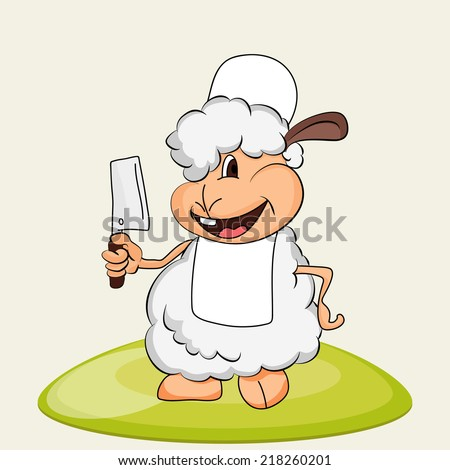 Cute sheep holding chopper on occasion of Muslim community festival Eid-Ul-Adha celebrations.  - stock vector